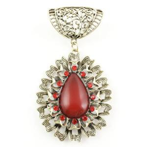 wholesale Scarf Pendants  #S583 Bronze Abstract Oval w/ Red Stones (MB) -