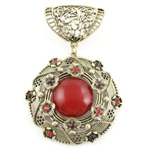 wholesale Scarf Pendants  #S587 Bronze Flower Circle w/ Red Stones -