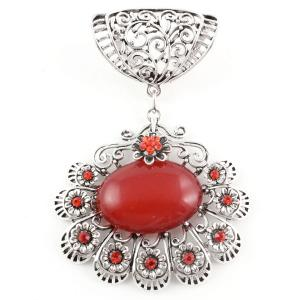wholesale Scarf Pendants  #S590 Silver w/ Red Stones -