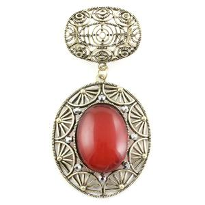 wholesale Scarf Pendants  #S594 Bronze Oval w/ Red Stone -