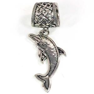wholesale Scarf Pendants  #158 Silver Dolphin (Hinged Tube) -