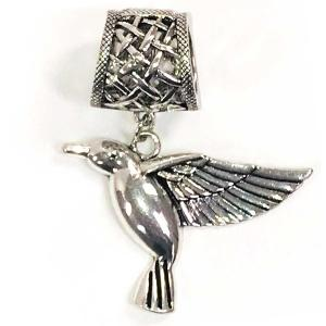 wholesale Scarf Pendants  #160 Silver Humming Bird (Hinged Tube) -