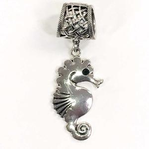 wholesale Scarf Pendants  #162 Silver Seahorse (Hinged Tube) -