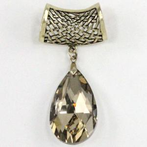 wholesale Scarf Pendants  #S562 Champagne Crystal Teardrop (MB) -