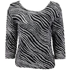 wholesale Magic Crush Three Quarter Sleeve Tops Zebra Print  - Plus Size Fits (XL-2X)