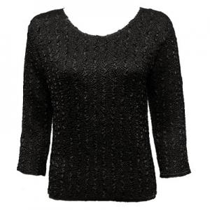 wholesale Magic Crush Three Quarter Sleeve Tops Solid Black-B Two Ply - One Size (S-L)