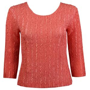 wholesale Magic Crush Three Quarter Sleeve Tops Solid Coral-B Two Ply - One Size (S-L)