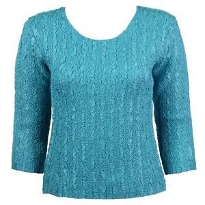 wholesale Magic Crush Three Quarter Sleeve Tops Solid Light Aqua-B Two Ply - One Size (S-L)