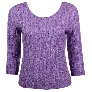 wholesale Magic Crush Three Quarter Sleeve Tops Solid Light Orchid-B Two Ply - One Size (S-L)
