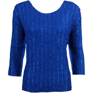 wholesale Magic Crush Three Quarter Sleeve Tops Solid Royal-B Two Ply Two Ply - One Size (S-L)