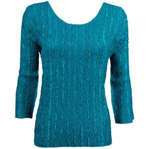 wholesale Magic Crush Three Quarter Sleeve Tops Solid Teal-B Two Ply Two Ply - One Size (S-L)