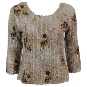 wholesale Magic Crush Three Quarter Sleeve Tops Beige Floral (#036A) Two Ply - Plus Size Fits (XL-2X)