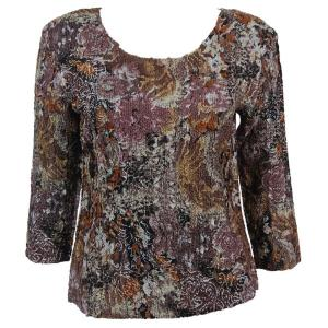 wholesale Magic Crush Three Quarter Sleeve Tops Floral Jungle Two Ply - Plus Size Fits (XL-2X)