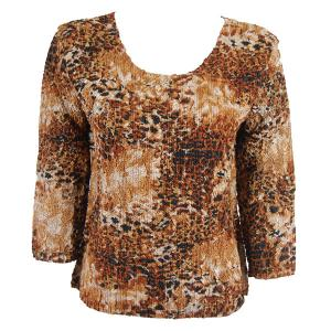 wholesale Magic Crush Three Quarter Sleeve Tops Golden Leopard (#004B) Two Ply - Plus Size Fits (XL-2X)