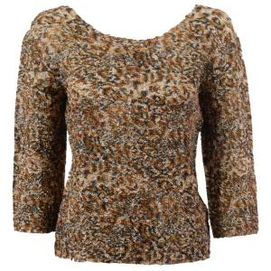 wholesale Magic Crush Three Quarter Sleeve Tops Leopard Print Two Ply - Plus Size Fits (XL-2X)