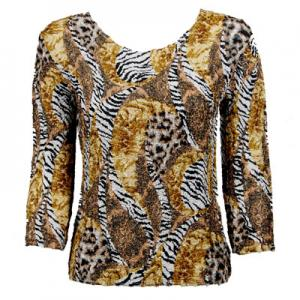 wholesale Magic Crush Three Quarter Sleeve Tops Safari Gold Two Ply - Plus Size Fits (XL-2X)