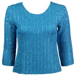 wholesale Magic Crush Three Quarter Sleeve Tops Solid Aqua-B Two Ply - Plus Size Fits (XL-2X)