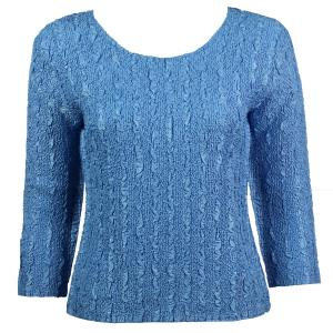 wholesale Magic Crush Three Quarter Sleeve Tops Solid Azure-B Two Ply - One Size (S-L)