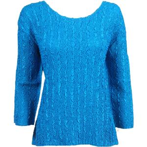 wholesale Magic Crush Three Quarter Sleeve Tops Solid Blue-B Two Ply - Plus Size Fits (XL-2X)