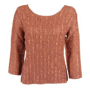 wholesale Magic Crush Three Quarter Sleeve Tops Solid Brass-B Two Ply - Plus Size Fits (XL-2X)