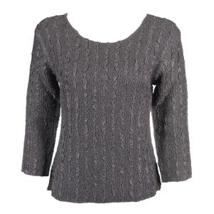 wholesale Magic Crush Three Quarter Sleeve Tops Solid Charcoal-B Two Ply - Plus Size Fits (XL-2X)