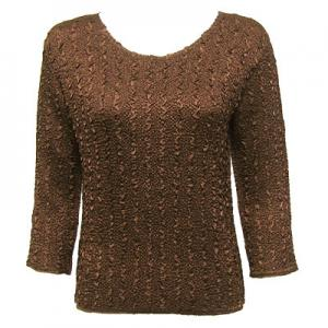 wholesale Magic Crush Three Quarter Sleeve Tops Solid Dark Brown-B Two Ply - Plus Size Fits (XL-2X)