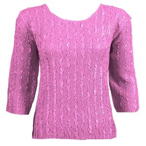 wholesale Magic Crush Three Quarter Sleeve Tops Solid Dusty Rose-B Two Ply - Plus Size Fits (XL-2X)