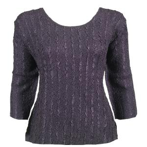 wholesale Magic Crush Three Quarter Sleeve Tops Solid Dark Eggplant-B Two Ply - Plus Size Fits (XL-2X)