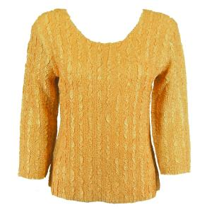 wholesale Magic Crush Three Quarter Sleeve Tops Solid Gold-B Two Ply - Plus Size Fits (XL-2X)