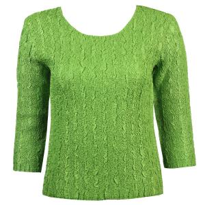 wholesale Magic Crush Three Quarter Sleeve Tops Solid Green-B Two Ply - Plus Size Fits (XL-2X)