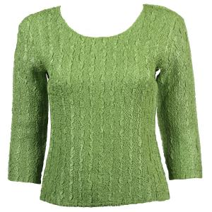wholesale Magic Crush Three Quarter Sleeve Tops Solid Green Apple-B Two Ply - Plus Size Fits (XL-2X)