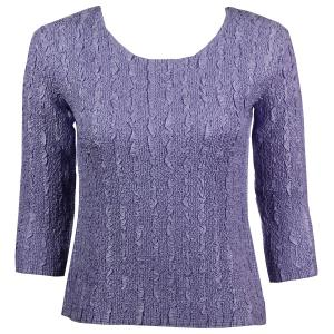 wholesale Magic Crush Three Quarter Sleeve Tops Solid Lilac-B Two Ply - Plus Size Fits (XL-2X)