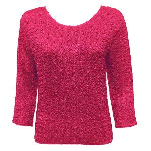 wholesale Magic Crush Three Quarter Sleeve Tops Solid Magenta-B Two Ply - Plus Size Fits (XL-2X)