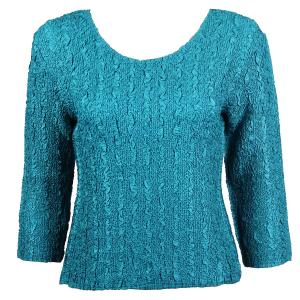 wholesale Magic Crush Three Quarter Sleeve Tops Solid Mallard Green-B Two Ply - Plus Size Fits (XL-2X)