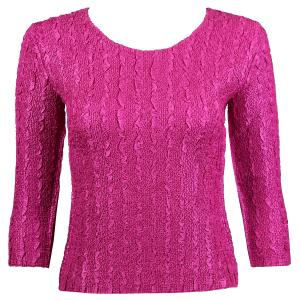 wholesale Magic Crush Three Quarter Sleeve Tops Solid Orchid-B Two Ply - Plus Size Fits (XL-2X)