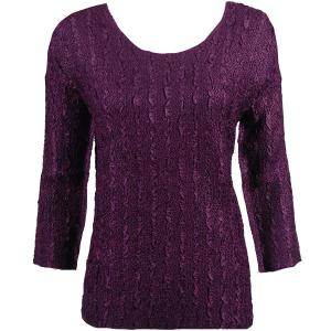 wholesale Magic Crush Three Quarter Sleeve Tops Solid Plum-B Two Ply - Plus Size Fits (XL-2X)