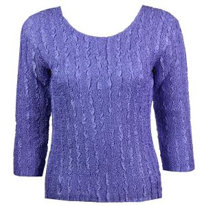 wholesale Magic Crush Three Quarter Sleeve Tops Solid Violet-B Two Ply - Plus Size Fits (XL-2X)