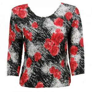 wholesale Magic Crush Three Quarter Sleeve Tops Spray of Roses B - Plus Size Fits (M-1X)