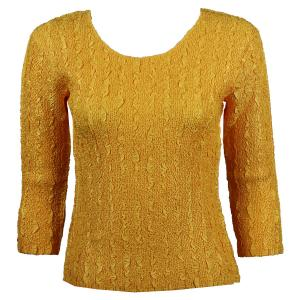 wholesale Magic Crush Three Quarter Sleeve Tops Solid Yellow-B Two Ply - Plus Size Fits (XL-2X)