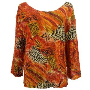 wholesale Magic Crush Three Quarter Sleeve Tops Abstract Zebra Red-Orange (#014B)  - One Size (S-L)
