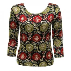 wholesale Magic Crush Three Quarter Sleeve Tops Medallion Red-Gold - One Size (S-L)