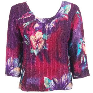 wholesale Magic Crush Three Quarter Sleeve Tops Red-Blue Flower (#052A) - One Size (S-L)