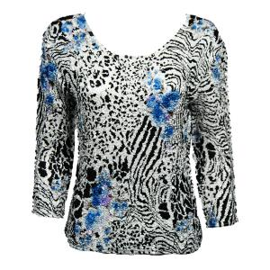 wholesale Magic Crush Three Quarter Sleeve Tops Reptile Floral - Blue (#302A) - One Size (S-L)