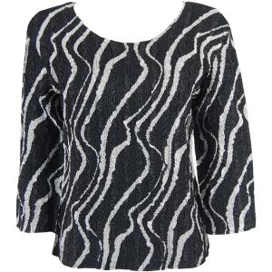 wholesale Magic Crush Three Quarter Sleeve Tops Ribbon Black-White  - One Size (S-L)