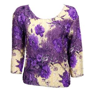 wholesale Magic Crush Three Quarter Sleeve Tops Rose Floral - Purple - One Size (S-L)