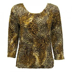 wholesale Magic Crush Three Quarter Sleeve Tops Swirl Leopard (#003A) - One Size (S-L)