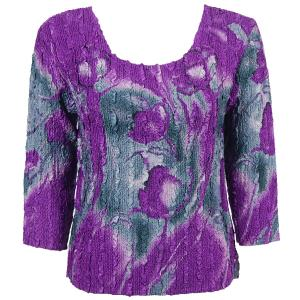 wholesale Magic Crush Three Quarter Sleeve Tops Tulips Charcoal-Purple (#975A) - One Size (S-L)
