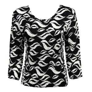 wholesale Magic Crush Three Quarter Sleeve Tops White Buds on Black (#309A) - One Size (S-L)