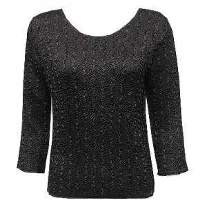 wholesale Magic Crush Three Quarter Sleeve Tops Solid Black-A - One Size (S-L)