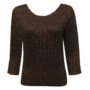 wholesale Magic Crush Three Quarter Sleeve Tops Solid Brown-A - One Size (S-L)